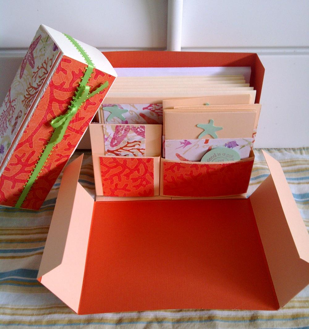 Stationery Box - Peach, Orange and Coral set